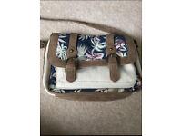 Beige canvas satchel style bag