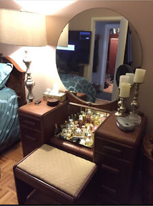 Antique tall boy dresser and vanity with stool