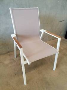 Maldives Sling Dining Chair in Latte Textiline Fabric and Arctic Loganholme Logan Area Preview