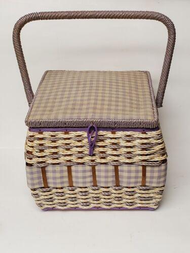 Vintage J C Penney Wicker Sewing Basket Lavender Gingham Full of Goodies