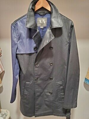 Armani Exchange Black blue patched leather like fabric trench coat size M men