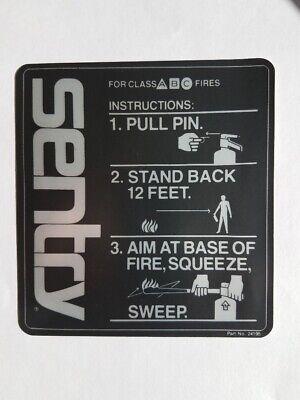 Sentry Fire Extinguisher Instructions Sticker Pn 24195