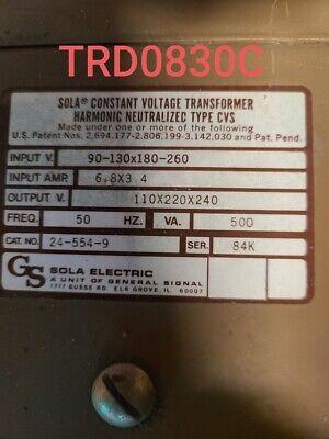 Sola Constant Voltage Transformer 24-554-9 Tested Eok