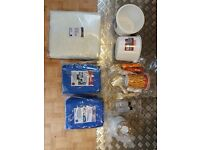 Fibre Glass sheet, Resins, Catalists, Brushes & Rollers, mixing pots & gloves