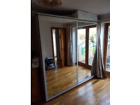 IKEA Pax double mirrored sliding door wardrobe