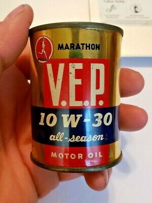 Vintage Marathon V.E.P. Motor Oil Can Coin Bank