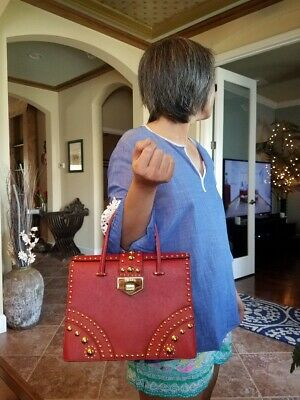 Authentic PRADA Red Saffiano Cuir Leather Tote with Metal Studs Tote HandBag