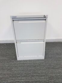 Bisley 2 Drawer Goose Grey Metal Office Filing Cabinet