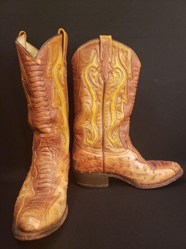 Rudel, Cowboy, Boots, OSTRICH, &, PYTHON, Leather, size, 8, 1/2E, Mens