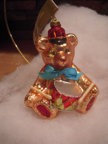 NEW 5 1/2-inch Glass Teddy Bear with Drum Christmas Ornament