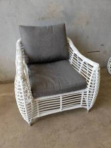Barbados Armchair in Arctic White Wicker and Grey Olefin Cushions Loganholme Logan Area Preview
