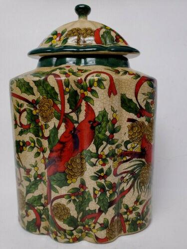 "Ceramic Christmas Decorative Lidded Jar Cardinals Pinecones Red Ribbons 10.5"""