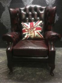 Stunning Chesterfield Queen Anne Wing Back Chair Oxblood Red Leather Delivery