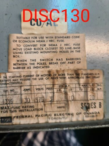 Federal Pacific Safety Switch 30A 575V
