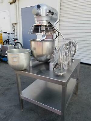Hobart A-200t Mixer 20 Qt Mixer Timer Safety Cage Stand Ss Bowl 12 Qt Reducer