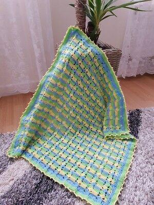 Handmade crochet Baby Blanket In Blue/Yellow/Green