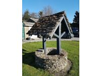 Antique Vintage Garden Wishing Well Ornamental with Genuine Cotswold Stone Tiles