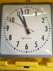 Vintage Edwards 13.5 Sqiare School Industrial Wall Clock