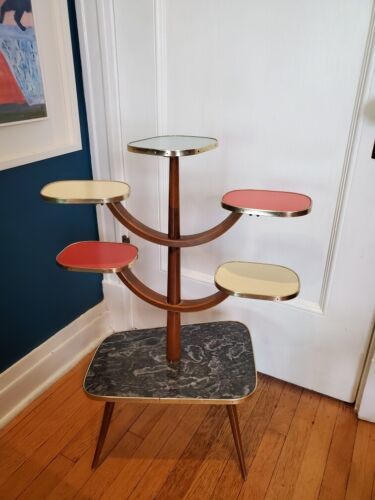 All Original Vintage Space Age Plant Stand - Mid Century Formica Accent 50s 60s