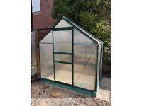 Greenhouse 6ft x 4ft Green powder coated aluminium greenhouse polycarbonate glazing & base plinth