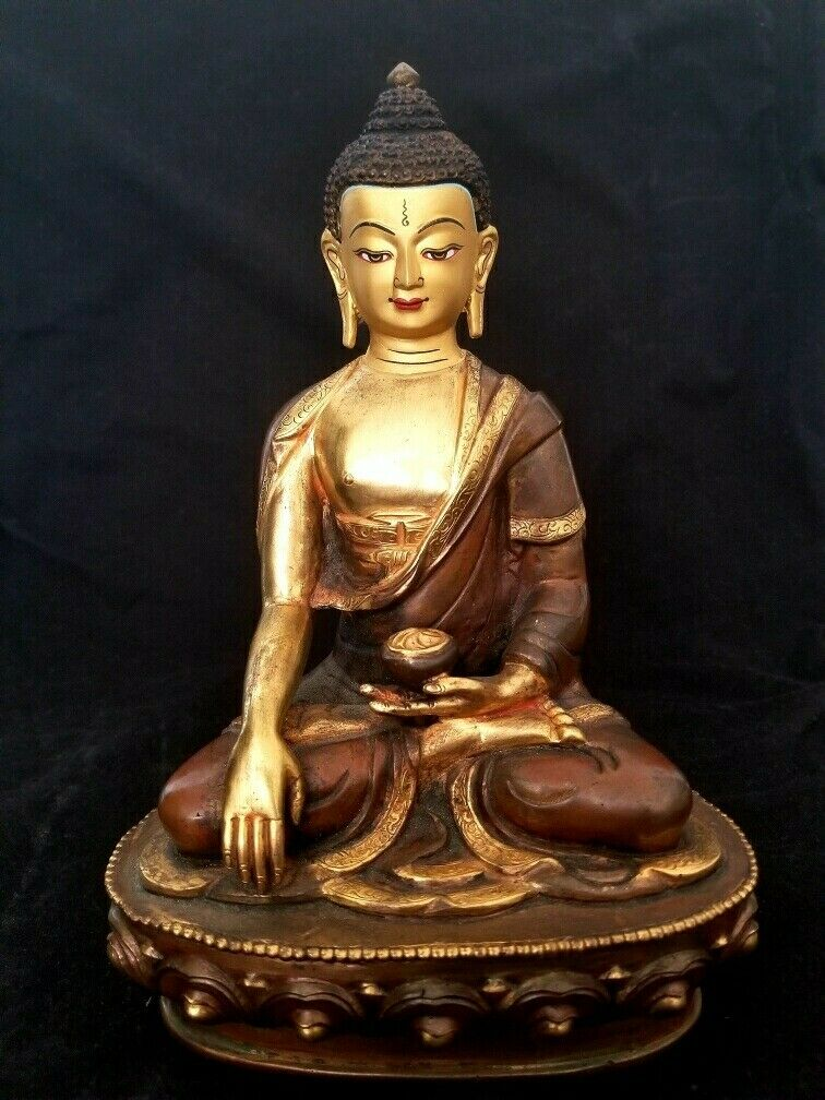 Sakyamuni Buddha Nepal Brass Statue 9