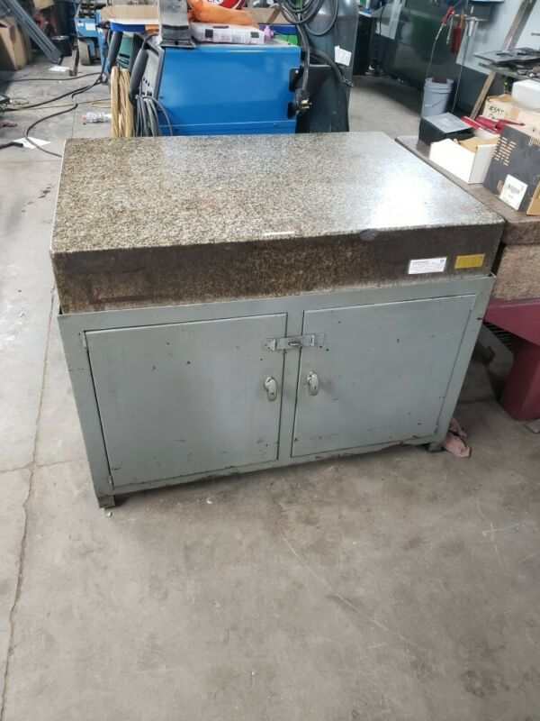"""Herman surface plate granite table 8""""x36""""x48"""" With cabinet base"""
