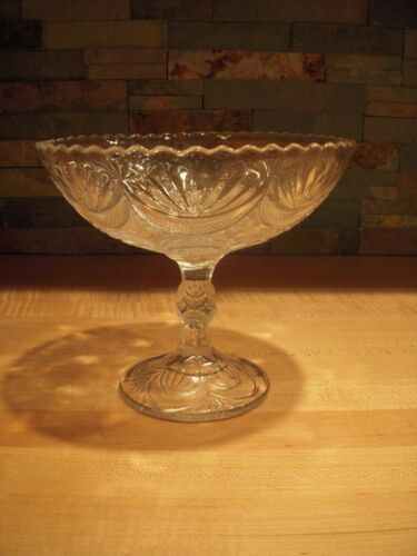 Higbee Diamond Point Swag and Fan Glass Open Compote / Comport : 1900 - 1905