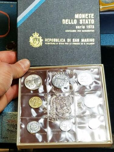 San Marino 1973 Mint set with original box 8 coins 1 silver NICE