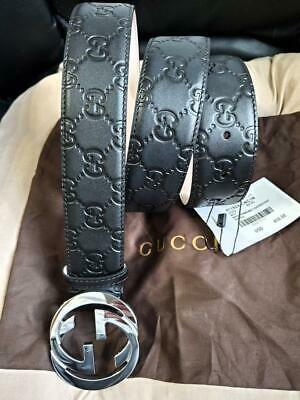 "Gucci Authentic Belt Guccissima Black w/ Silver GG Buckle Size 32""-34"" Waist"