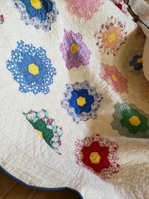 """Antique 1930 Flower Garden Quilt, Hand-quilted (66"""" x 80"""")"""