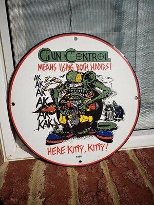 1966 GUN CONTROL PORCELAIN SIGN AK WINCHESTER, REMINGTON GAS & OIL
