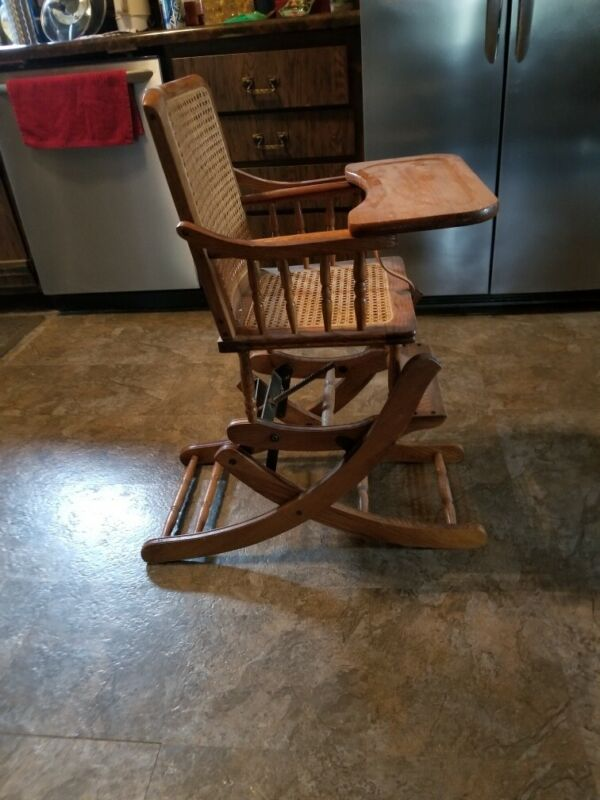 Mechanical Vintage Wooden Oak Cane Convertible Baby Rocker & High Chair & Tray