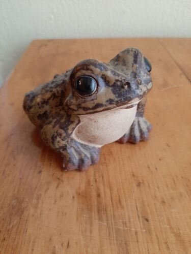 GREAT Vintage 1960s Realistic Pottery Frog Toad Figurine Japan