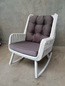 Paros Rocking Chair in White with Charcoal Olefin Cushions Loganholme Logan Area Preview