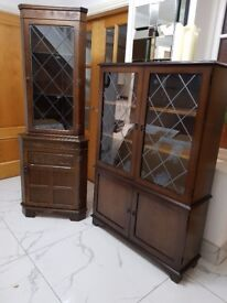 JAYCEE OLD CHARM CARVED OAK BOOKCASE DISPLAY CD DVD CABINET and CORNER GLASS DRINKS CABINET