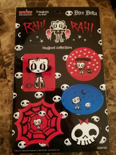 Dire Delia Goth Girl 6 PC Magnet Set with 5 FREE Stickers