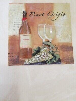 "Tile Art Bottle of Wine Pinot Grigio Grapes 3D 5 3/8"" x 5 1/2"""