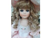 Porcelain Victorian Style doll on stand vgc