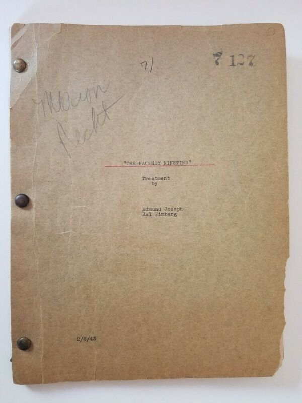 ABBOTT AND COSTELLO The Naughty Nineties/1943 Original Story Treatment