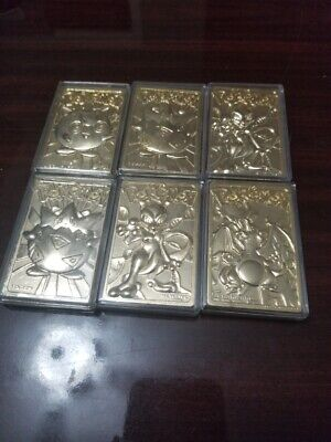Pokemon Lot Gold-Plated Card 1999 Nintendo 6 Total Rare Charzard Mewtwo