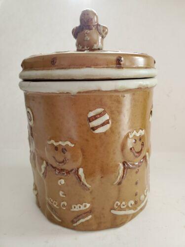 "Ceramic Gingerbread Man Cookie Jar With Lid 10"""