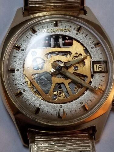 Vintage 1969 Bulova Accutron 14k Gold Filled Mens Skeleton Watch - Rare