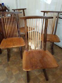 Beautiful hardwood dining chairs (to design types by George Nakashima)