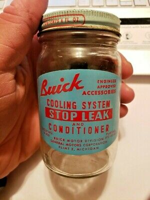 VINTAGE 1940'S BUICK COOLING SYSTEM STOP LEAK GLASS JAR WITH LID **