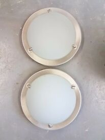 Circular brushed steel and frosted glass Wall \ Ceiling Lights