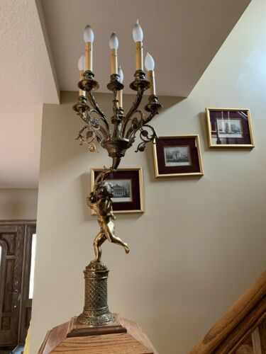 Fabulous Newel Post Light with Child holding Candelabra