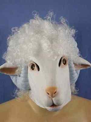 Adult Sheep Mask (Sheep Mask Ram Lamb White Farm Animal Dress Up Halloween Adult Costume)