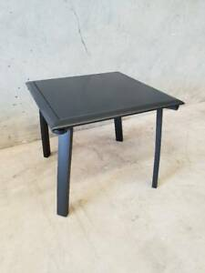 Morocco Side Table in Black Aluminium Frame with Matte Glass Loganholme Logan Area Preview