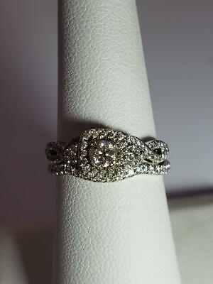 Halo Diamond Wedding Set 86 Diamonds .73ct 14K Solid White Gold Sz 6 (EL1054519) Set Brilliant Diamond