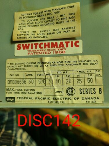 Federal Pacific Dual Safety Switch 60A 575V
